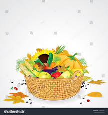 thanksgiving basket vegetables fruits leaves isolated stock vector