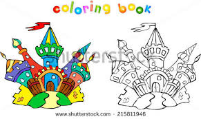 funny colorful castle coloring book children stock vector