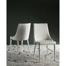 White Leather Kitchen Chairs Summerset White Side Chair Set Of 2 With Regard To Leather Prima
