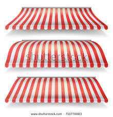 Red And White Striped Awning Awnings Set Different Forms Italian Awning Stock Illustration