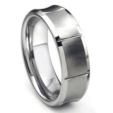 mens wedding band designers tungsten carbide concave wedding band ring w horizontal grooves