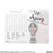 baby shower games word search air balloon memo notepad