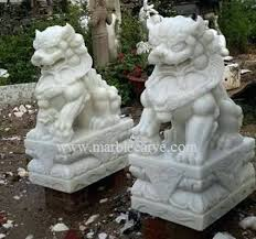 white foo dogs foo dog garden statue white marble carving sculpture asian foo