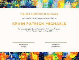 colorful abstract painting art completion certificate templates