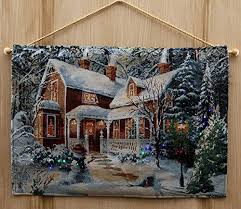 battery operated lighted tapestry fiber optic snow covered