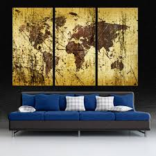 art for home decor abstract buff kobicha world map canvas print wall art 3 panel