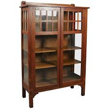 antique arts and crafts mission oak china cabinet circa 1910 at