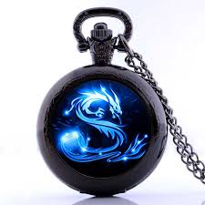 dragon glass pendant necklace images 2017 blue dragon pocket watch necklace handmade glass dome jewelry jpg