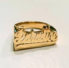 name ring gold large script name ring with be monogrammed