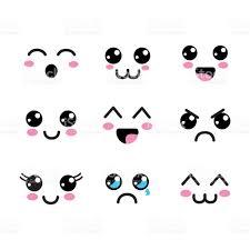 imagenes de caritas kawai icono de ojos caras kawaii arte vectorial de stock y más imágenes