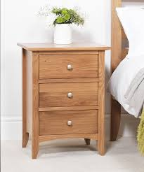 Bedroom Furniture Direct Edward Hopper Oak Bedside Table 3 Drawer Assembled Bedside