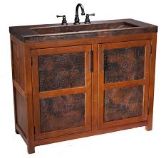 Bathroom Vanity With Copper Sink Scarborough Rustic Wooden Bathroom Vanity With Handcrafted Copper