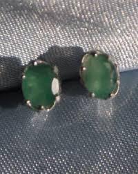 earrings app 6mm x 4mm oval emerald stud earrings in sterling silver