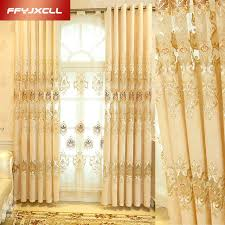 Yellow Window Curtains New Luxury Europe Embroidered Tulle Window Curtains For Living