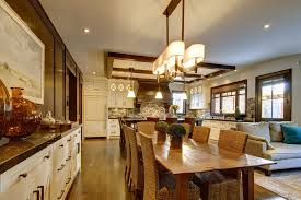 open kitchen to dining room dining room craftsman with open floor