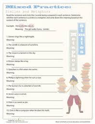 simile and metaphor simile grammar worksheets and worksheets
