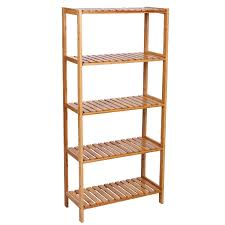Bed Bath And Beyond Bathroom Shelves by Songmics 5 Tier Bamboo Bathroom Shelf Unit Storage Stand Shelves