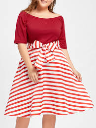 dresses red 5xl plus size striped christmas party knee length
