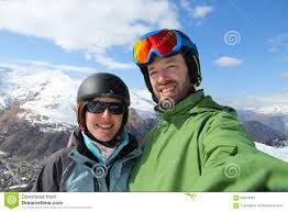 skiing selfie stock image image of mountain helmet 56444263