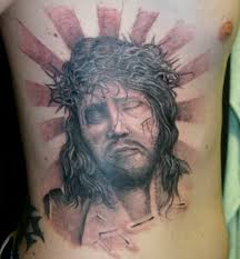 color horror passion jesus christ portrait realistic tattoo on