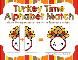 freebie turkey time alphabet match match uppercase to lowercase