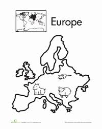 color continents europe geography worksheets kindergarten