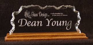 glass gifts glass design llc coporate style nameplate with wood base