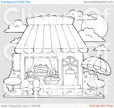 clipart outlined cake or candy shop with outdoor seating royalty
