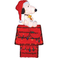 lighted dog christmas lawn ornament 36 inch peanuts snoopy on dog house lighted holiday lawn decoration