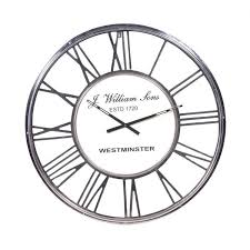 large chrome metal roman numeral 80cm diameter round wall clock