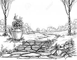 garden images in a drawing with sketch pencil pencil drawing