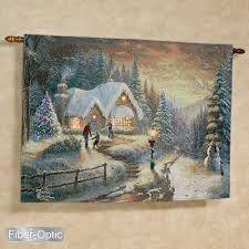kinkade country homecoming lighted wall tapestry