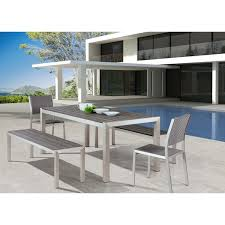 metropolitan brushed aluminum outdoor dining table free shipping