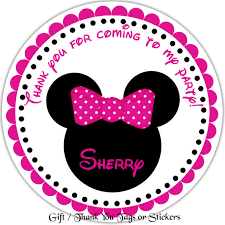 minnie mouse personalized stickers favor tags thank you