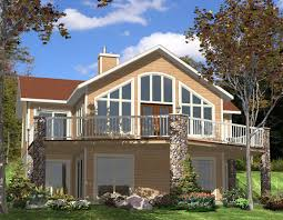 plan 90075pd for the sloping lot tall windows and glass doors