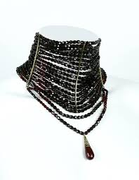 black beaded choker necklace images Christian dior iconic multi strand edwardian inspired red glass JPG