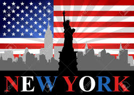 New Yorks Flag A Stock Vector Of Liberty Statue With New York City And Usa Flag