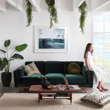 dahlia 3 seat velvet sofa in cozy pine green freedom