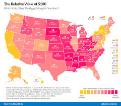 50 States Map With Capitals by The Real Value Of 100 In Each State Tax Foundation