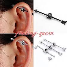 bar earring cartilage industrial bar ear cartilage barbell collection on ebay