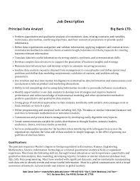 cover letter data analyst cover letter job description principal