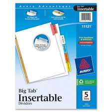 avery 11121 avery worksaver big tab insertable tab divider