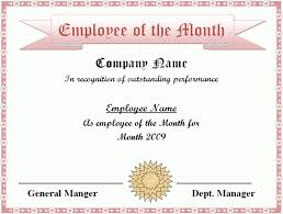employee of the month certificate template word templates