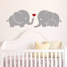 nursery wall decals kids room stickers brightly colored tree and jungle safari wall decals wayfair elephant family with red heart decal design baby room