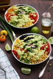 vegan mexican chopped salad with avocado dressing happy kitchen