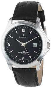 peugeot 706 amazon com peugeot men u0027s silver tone black leather strap classic