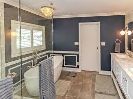 charlotte navy blue bathroom ideas transitional with open shelf