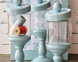 Apothecary jars set pedestal glass damask black and