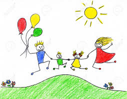 children u0027s drawing of happy family having good time together stock