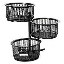 Wire Mesh Desk Accessories 3 tier wire mesh swivel tower paper clip holder by rolodex